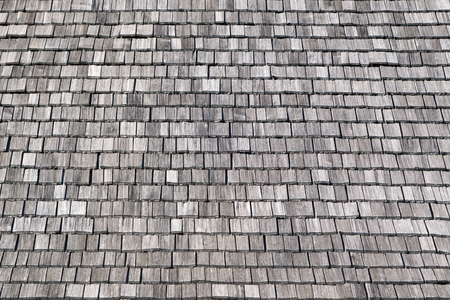 shingles: Gray, rectangular, untreated wooden shingles
