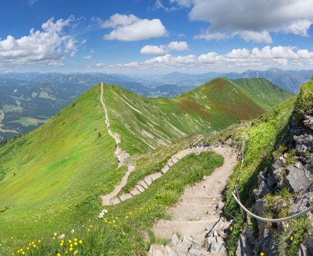 green ridge: Ridge trail in the green summery Alps from Fellhorn to Soellereck