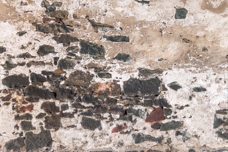 roughcast: Old wall with plaster crumbled Stock Photo