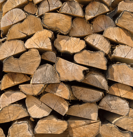smaller: Woodpile with brown, half cut smaller tree trunks Stock Photo