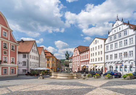 Market square with fountain in Eichstaett, Germany Stock Photo