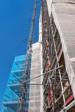 safety net: Scaffolding with Safety Net Stock Photo