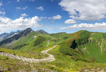 allgau: Hiking trail in the Allgau Alps from Fellhorn Kanzelwand to Stock Photo