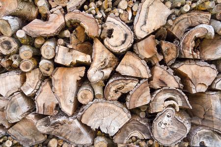 Old weathered woodpile Stock Photo