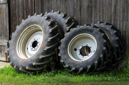 dismounted: Wheels of a tractor Stock Photo