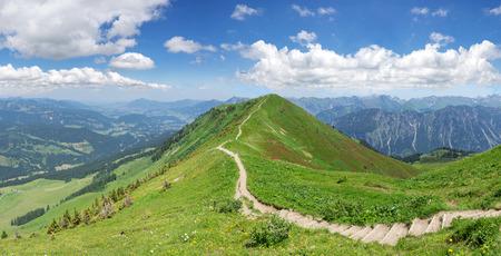 allgau: Hiking trail in the mountain landscape of the Allgau Alps on the Fellhorn ridge Stock Photo