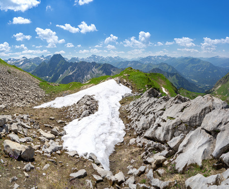 allgau: Last snow in the Allgau Alps with mountain Hoefats