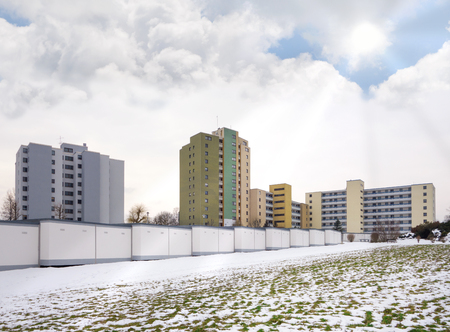 highrises: High-rises on the snowy outskirts in winter