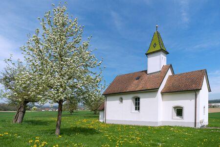 Oberhofen Chapel near Orsingen in spring