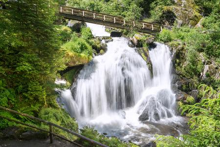 wooden bridge: Triberg Waterfall with wooden bridge
