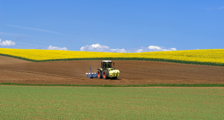 Tractor during sowing