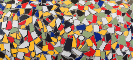 Colorful mosaic made of broken tile pieces
