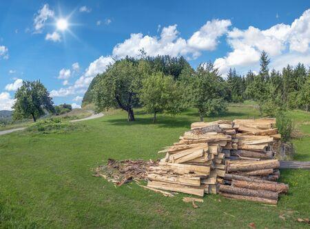 Firewood in rural landscape
