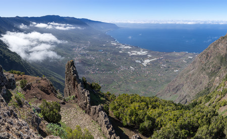 El Hierro - View of the El Golfo valley at Mirador de Jinama Stock fotó