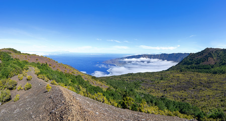 El Hierro, Canary Islands - View from the volcano Tanganasoga over the partly cloudy El Golfo valley