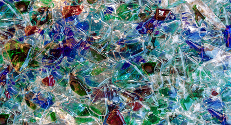 Colorful melded glass pieces