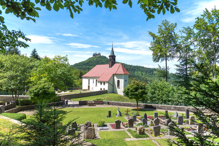 Pilgrimage church Maria Zell with view to Hohenzollern Castle