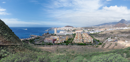 Tenerife - Panorama of Los Cristianos with arriving ferry