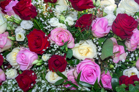 Flower arrangement of white, pink and red roses Stock Photo