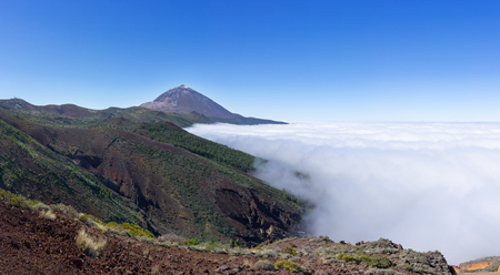 Cloud cover over the Orotava Valley in the national park Tenerife with Teide Stock Photo