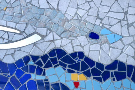 Colorful mosaic with wavy pattern