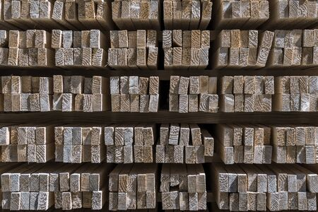 Front side of a stack of wooden slats
