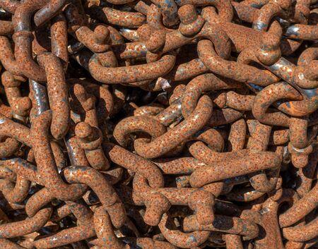 Rusty chain in closeup