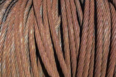 Rusty wire rope in closeup