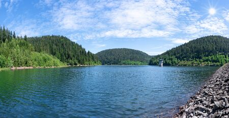Kleine Kinzig Dam in the sunshine in the Black Forest, Germany