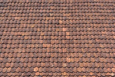 Old red brown tile roof