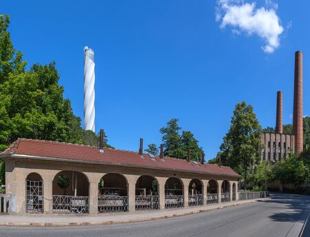 Rottweil, Germany - in the business park Neckartal with new tower and old power plant Reklamní fotografie