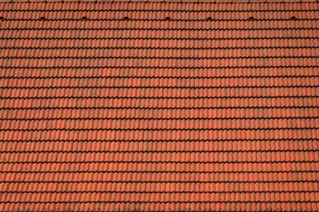 Red tiled roof with dirt Archivio Fotografico - 130135865