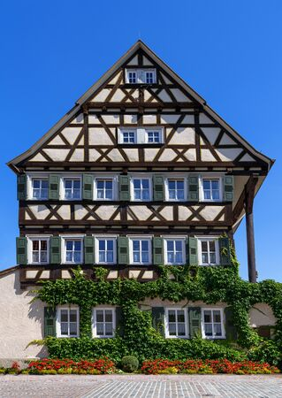 Old, partly overgrown half-timbered house - youth hostel in Balingen, Germany