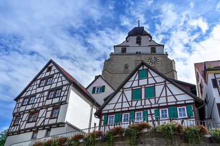 Herrenberg, Germany - Half-timbered houses and church Stiftskirche Redactioneel