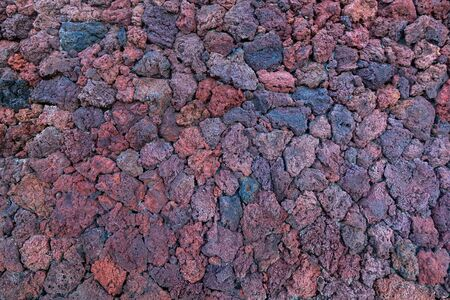 Detail of a wall made of lava stones