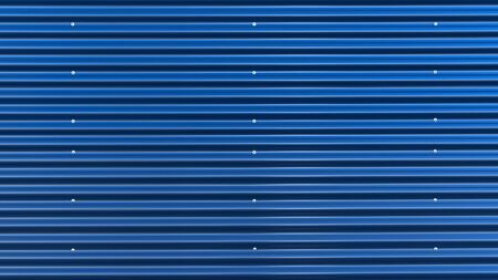 Blue corrugated iron with silver screws