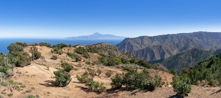 La Gomera - Picturesque landscape in the northwest with view to Tenerife island Stock Photo