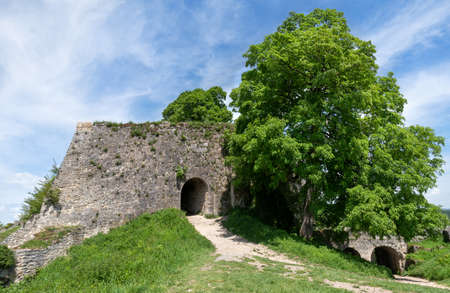 Entrance to an old castle ruin with two gates - Hohenurach Castle, Bad Urach