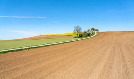 Cultivated land in spring with newly harrowed fields
