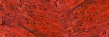 Structure of an old, red painted OSB oriented strand board - panoramic detail