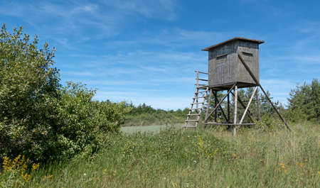 Enclosed deer stand made of wood on a wild meadow with bushes in summer