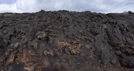 Area of solidified black lava - ropy lava - pahoehoe lava, taken near La Restinga, island of El Hierro, Canary Islands Foto de archivo