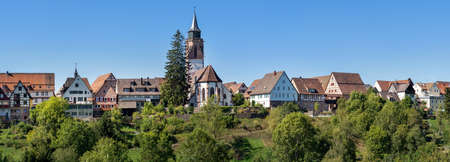 Panoramic townscape of Dornstetten in Baden-Württemberg, Germany - old town with church Martinskirche Foto de archivo