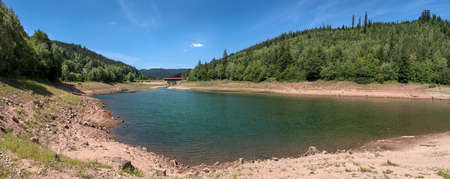 Panoramic landscape in summer at the lower lake of the dam Nagoldtalsperre, Black Forest, Germany Foto de archivo