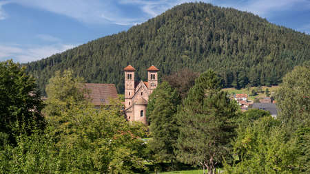 View of the monastery church in Klosterreichenbach, district of Baiersbronn, Germany in the Black Forest landscape