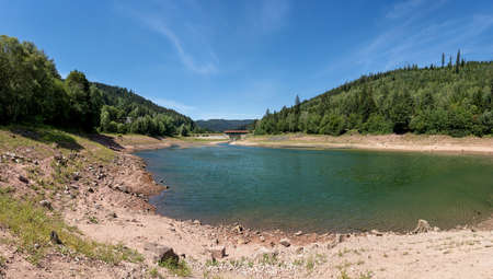 Idyllic landscape in summer at the lower lake of the dam Nagoldtalsperre in the Black Forest, Germany