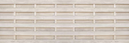 Privacy fence made of light wood with horizontal cassette pattern in panoramic close-up Foto de archivo