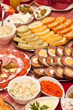 american food: Beautiful decorated dinner with a lot of different food Stock Photo