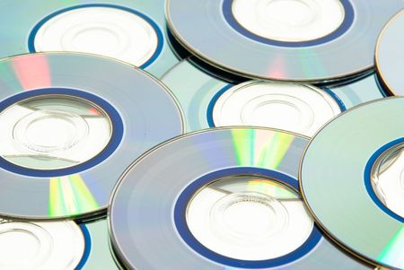 recordable: Stock of recordable compact discs on white