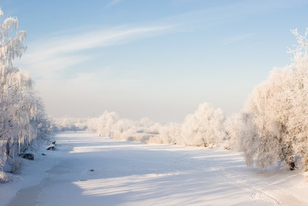 Winter scene with snowy trees and river covered with ice photo